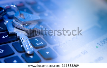 Key and computer keyboard. Security concept - stock photo