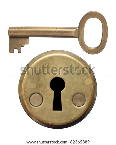 Key and keyhole on white background. - stock photo