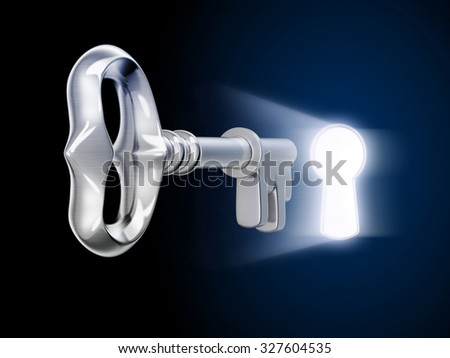 key and keyholy (done 3d) - stock photo