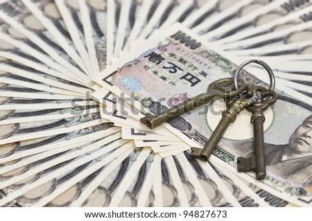 key and money - stock photo