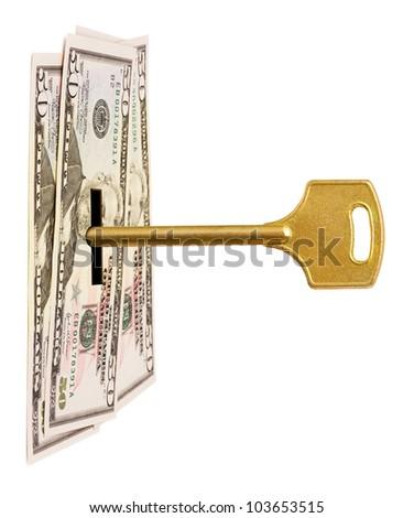 Key and money isolated on white background - stock photo