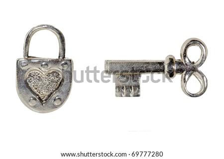key and padlock on a white background - stock photo