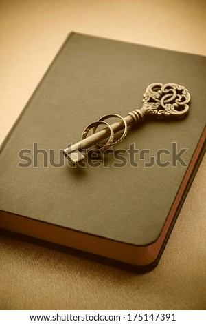 Key and rings on book.  Sepia image. - stock photo
