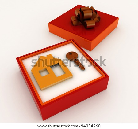 Key and symbol of house in red gift box. Concept of your dream house. - stock photo
