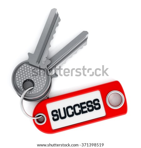 Key attached to success label isolated on white background