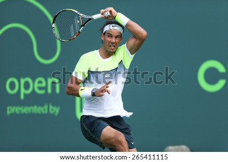 KEY BISCAYNE, FL-MAR 27: Rafael Nadal of Spain returns a shot during day five of the Miami Open at Crandon Park Tennis Center on March 27, 2015 in Key Biscayne, Florida. - stock photo