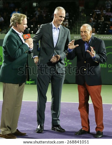 KEY BISCAYNE, FL-MAR 26: Tennis coach Nick Bollettieri (R) speaks at his International Tennis Hall of Fame ring ceremony at Crandon Park Tennis Center on March 26, 2015 in Key Biscayne, Florida. - stock photo