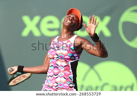 KEY BISCAYNE, FL-MAR 26: Venus Williams of the United States serves during day four at the Miami Open at Crandon Park Tennis Center on March 26, 2015 in Key Biscayne, Florida. - stock photo