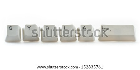 key board letters isolated on a white background spelling syria control - stock photo
