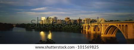 Key Bridge & Skyline View, Rosslyn, Virginia/Washington, D.C. - stock photo