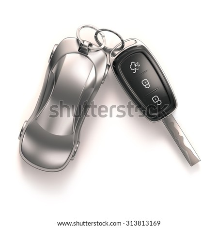 Key car and key ring over white background. Clipping path included. - stock photo