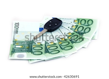 key car & hundreds euro as credit as success - stock photo