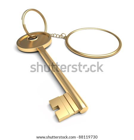 key chain on the white background - stock photo