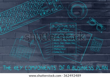 key component of a business plan: illustration of an office desk with detailed documents