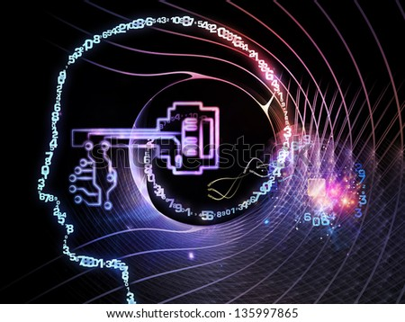 Key Concept series. Interplay of human head, key symbol and fractal design elements on the subject of encryption, security, digital communications, science and technology - stock photo