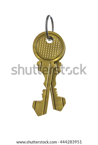 Key couple profile / 3D illustration of house keys with male and female face profiles