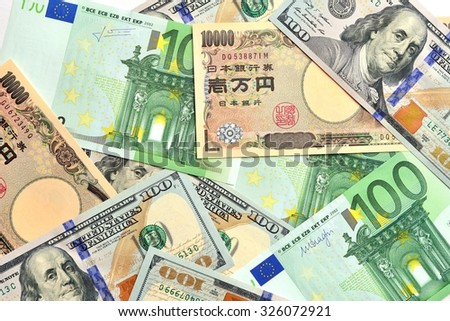Key currencies as of today  US dollar, Euro, Japanese Yen - stock photo