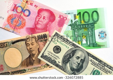Key currencies as of today  US dollar, Euro, Japanese Yen and Chinese Yuan - stock photo