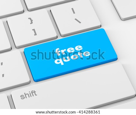 Key for free quote - business concept, raster, 3d rendering