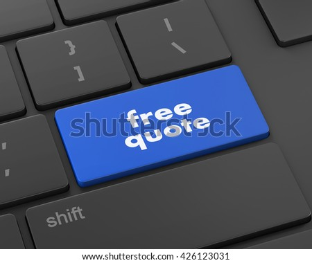 Key for free quote - business concept, raster, 3d rendering - stock photo