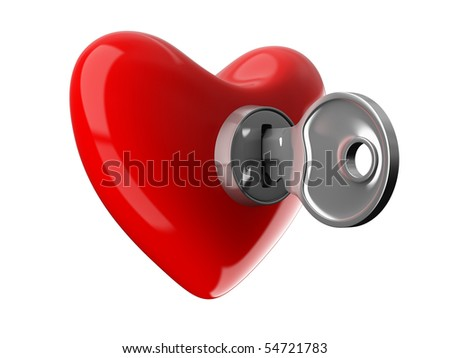 Key from heart. Isolated 3D image on white - stock photo