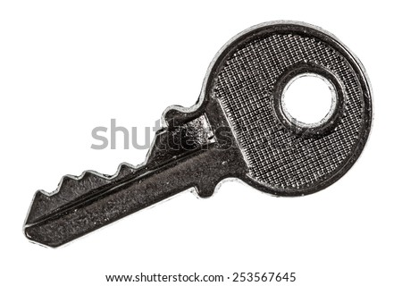 Key from the lock, element of safety system, isolated on white background - stock photo