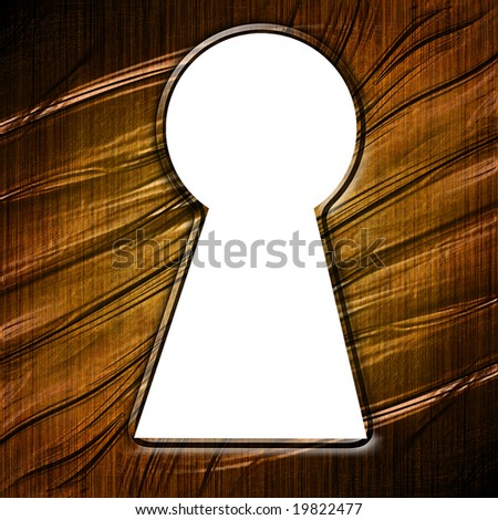 key hole in a wooden door with some damage