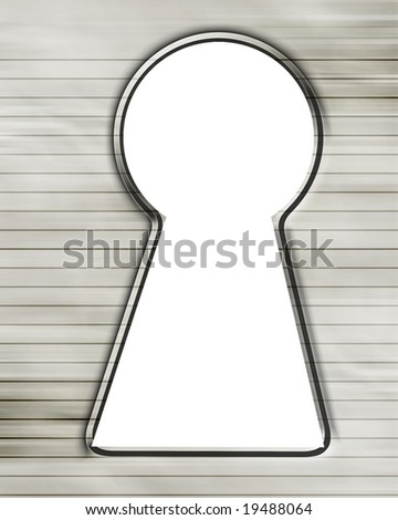 key hole made in striped office paper
