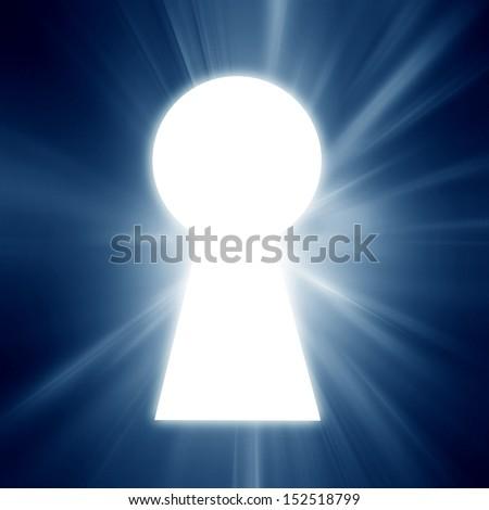 key hole on a soft blue background - stock photo