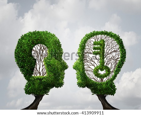 Key hole Solution partnership and key opportunity business concept as two trees shaped as a human head with a key and keyhole shapes as a collaboration success metaphor in a 3D illustration style. - stock photo