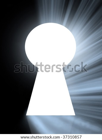 key hole with rays of light - stock photo