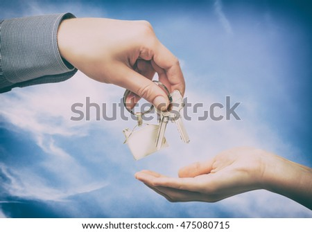 key home buy sale hand business owner estate real house - stock image