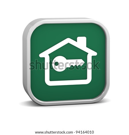 Key House Sign on a white background. Part of a series. - stock photo