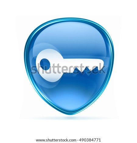 Key icon blue, isolated on white background