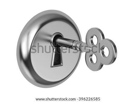 Key in keyhole, isolated on white. 3D rendering - stock photo