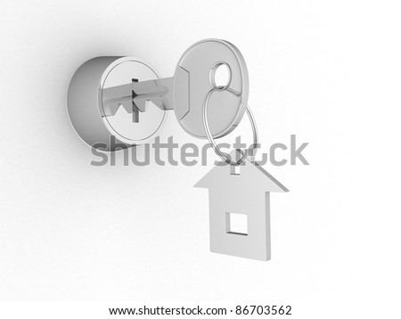 key in keyhole with label. 3d render illustration - stock photo