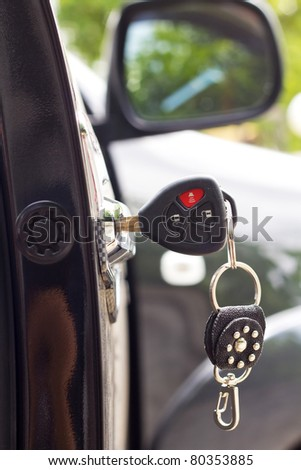 Key in the car door. closeup Useful as background for design-works. - stock photo