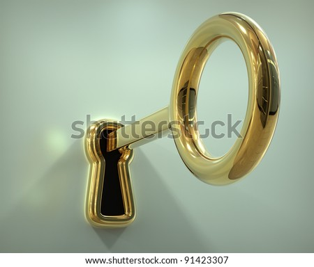 Key in the keyhole - 3d illustration - stock photo