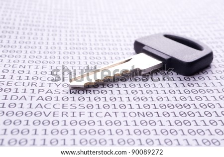Key is on the list with a binary code and few words about safety - stock photo