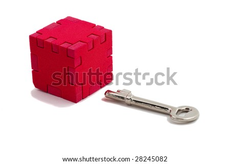 Key is ready to solve puzzle, isolated on white background - stock photo