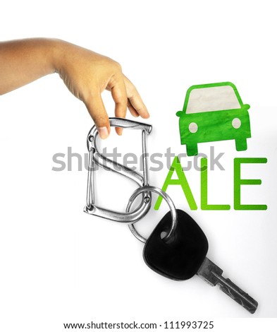 key isolated on white as a concept of car sale - stock photo