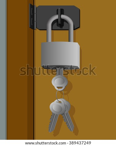 Key left in the lock and hanging on the door - stock photo