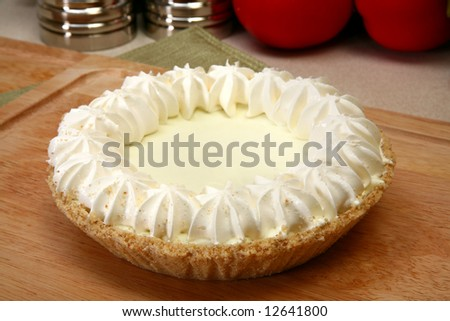 key lime pie in kicthen or restaurant.