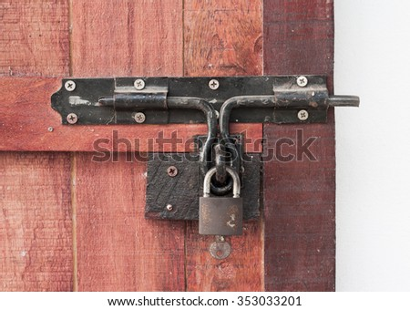 Key lock condition the old wooden doors.