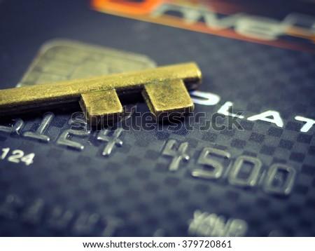 key lock credit card data encryption security use filter vintage Autumn tone   - stock photo