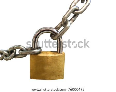 Key lock locked with a chain, clipping path - stock photo