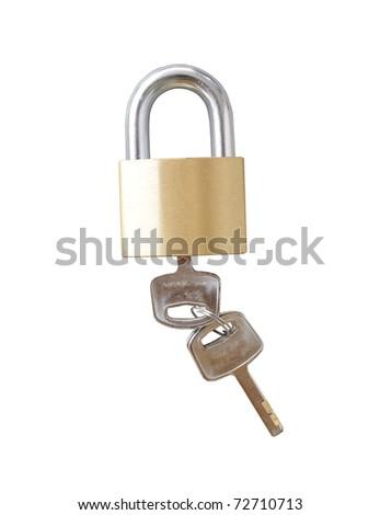 Key lock to secure valuable anti-theft. - stock photo
