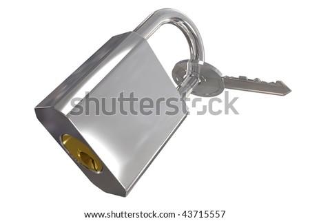 Key locked to padlock including clipping path - stock photo