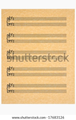 Key of A in 4/4 time blank music sheet on parchment paper ready for your composition. Isolated. - stock photo