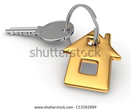 Key of house isolated on white. - stock photo